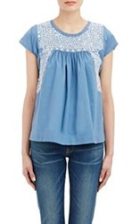 Ulla Johnson Embroidered Calla Babydoll Top Blue