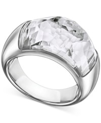 Swarovski Rhodium Plated Crystal Dome Ring No Color