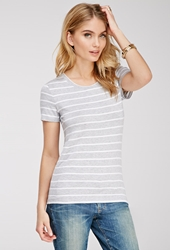 Forever 21 Nautical Stripe Jersey Tee Heather Grey Ivory