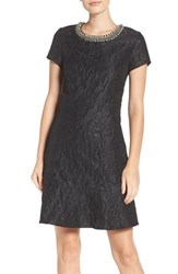 Laundry By Shelli Segal Women's Embellished Jacquard Knit Fit And Flare Dress