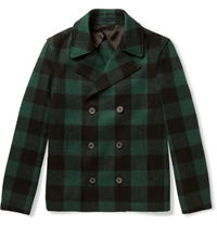 Lanvin Slim Fit Check Wool Blend Peacoat Green