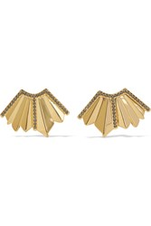 Giles And Brother Gold Plated Swarovski Crystal Earrings Metallic