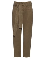 Frame Denim Le Skinny Stretch Cotton Canvas Trousers Khaki
