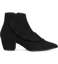 Office Luscious Ruffled Suede Ankle Boots Black Suede