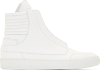 Helmut Lang White Leather High Top Sneakers