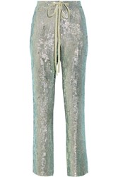 Rosie Assoulin A Fish Called Wanda Iridescent Sequined Silk Chiffon Wide Leg Pants Mint