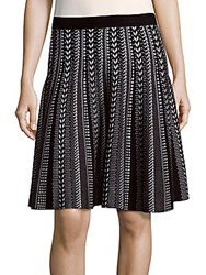 Saks Fifth Avenue Black Patterned Knit Skirt Black Bleach