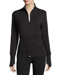 Marika Tek Slimming Ribbed Zip Front Jacket Black