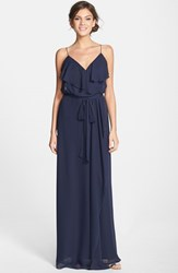 Women's Nouvelle Amsale Ruffle Front Chiffon Gown Navy