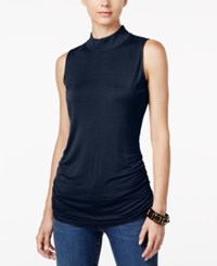 Inc International Concepts Ruched Mock Turtleneck Top Only At Macy's Deep Twilight