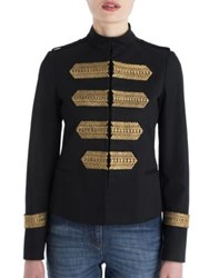 Valentino Embroidered Cotton Military Jacket Black