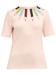 Ted Baker Colour By Numbers Thanaa Pencil Neckline Print Top Pale Pink