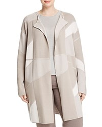 Basler Plus Color Block Open Cardigan Warm Gray