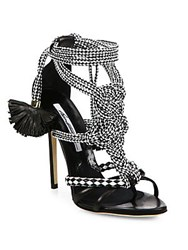 Brian Atwood Yuna Braided Leather Sandals Black