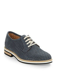 Aquatalia By Marvin K Zola Perforated Leather Oxfords Navy Blue