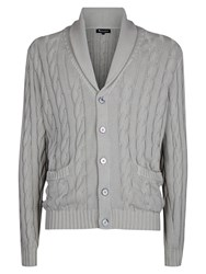 Aquascutum London Aquascutum Oakham Cable Knit Cardigan Grey
