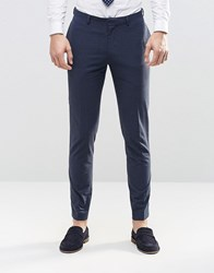 Asos Skinny Suit Trousers In Navy Check Navy