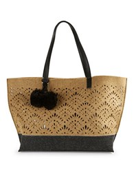 Echo Lasercut Wool Tote Latte