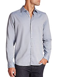 Saks Fifth Avenue Regular Fit Mini Diamond Sportshirt Blue
