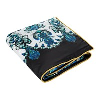 Roberto Cavalli Plumes Silk Throw Blue