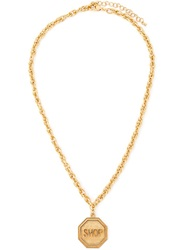 Moschino Shop Medallion Necklace Metallic
