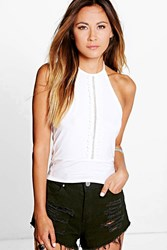 Boohoo Crochet Trim Halterneck Crop Top Ivory