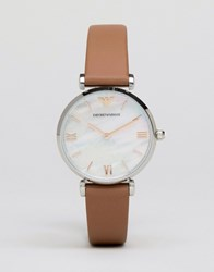 Emporio Armani Brown Leather Retro Watch Ar1988 Brown