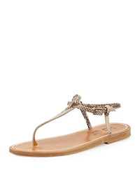 K. Jacques Snake Embossed Leather T Strap Flat Sandal