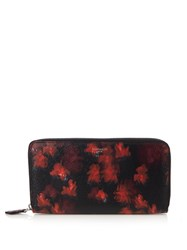 Givenchy Floral Print Zip Around Wallet Red Multi