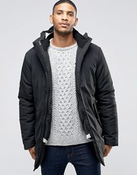 Bellfield Black Parka With Removable Cream Liner Black