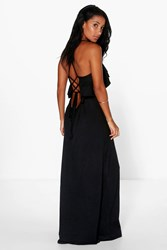 Boohoo Ruffle Lace Up Back Maxi Dress Black
