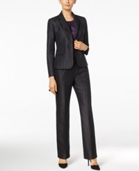 Le Suit Three Piece Two Button Striped Pantsuit Black Eggplant