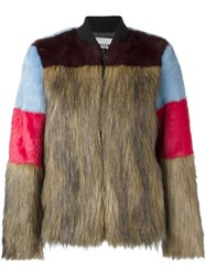 Msgm Faux Fur Bomber Jacket Brown