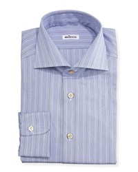 Kiton Alternating Fine Stripe Woven Dress Shirt Blue Rust Men's