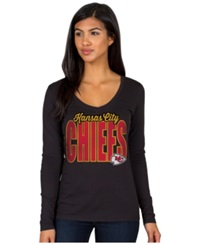 Authentic Nfl Apparel Women's Long Sleeve Kansas City Chiefs Touchdown T Shirt Black
