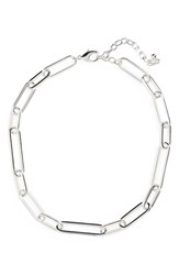 Nordstrom Women's Oval Link Collar Necklace Rhodium