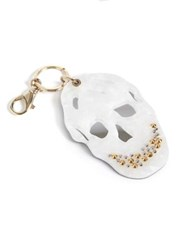Alexander Mcqueen Mirrored And Studded Skull Keychain White