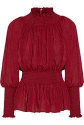 Elie Saab Ruched Silk Georgette Blouse Burgundy