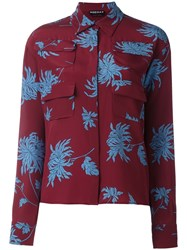 Rochas Floral Print Shirt Red