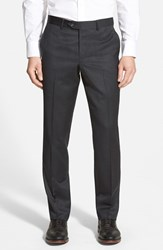 Men's Nordstrom Flat Front Wool Trousers Charcoal