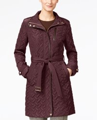 Cole Haan Faux Leather Trim Belted Quilted Coat Eggplant