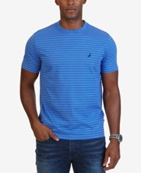 Nautica Men's Striped Crew Neck T Shirt Blue Indigo