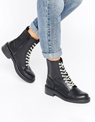 Pull And Bear Pullandbear Contract Lace Up Work Boot Black