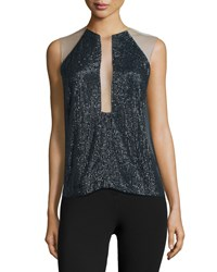 Kaufman Franco Sleeveless Embellished Top Slate Grey Size 6
