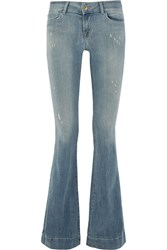 J Brand Lovestory Distressed Low Rise Flared Jeans Blue