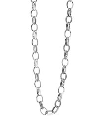 Lagos Sterling Silver Caviar And Smooth Link Chain Necklace 24