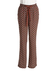Lord And Taylor Printed Drawstring Pants Tobacco
