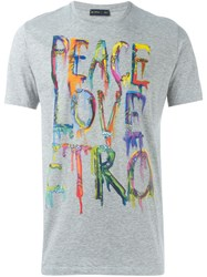 Etro Peace Love Etro Print T Shirt Grey