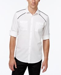 Inc International Concepts Men's Hamlet Dobby Long Sleeve Shirt Only At Macy's White Pure