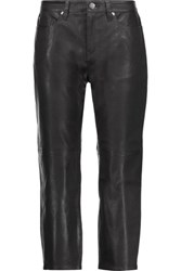 Iro Gaspard Cropped Leather Skinny Pants Black